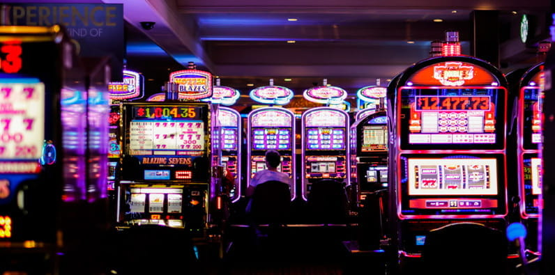 Flashing and Colourful Casino Slot Machines