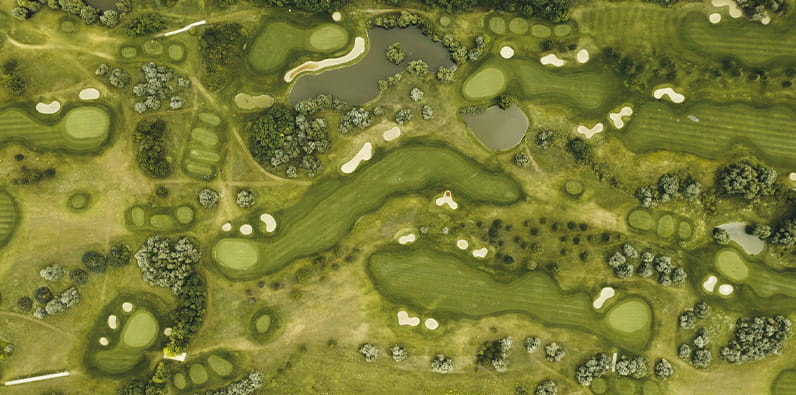 Lapangan Golf Profesional dari Bird View